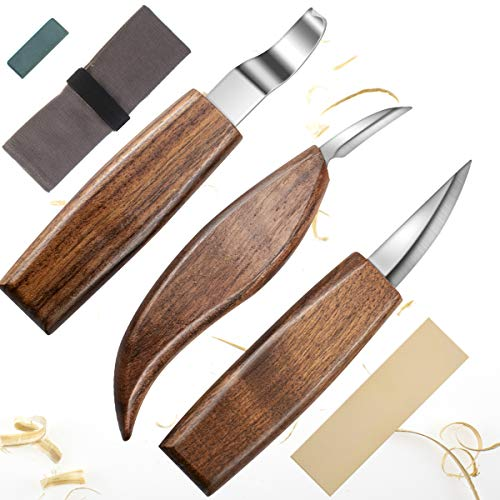 Wood Carving Tools,Woodworking,Wood Carving Kit,include Wood Carving Knife,Hook Knife,Whittling Knife, Detail Knife,Knife Sharpener,Whittling Kit - Wood Carving Set - Carving Tools Woodworking (Black)