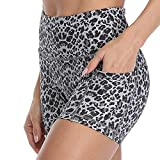 RAYPOSE Workout Bike Yoga Print Short Side Pockets High Waist Exercise Running Gym Shorts for Women 3' White Leopard Print-L