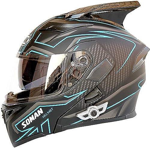 ETH Elektro Motorradhelm Auto Blautooth Helm Doppelscheibe Jethelm Motorradhelm Mit H ern - ABS Material - Schwarz- Blau -   Qualität (Größe   XL)