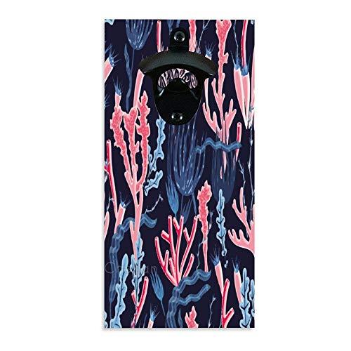 Décapsuleur rétro en bois rose clair corail floral mural pour bar, cuisine, terrasse, terrasse
