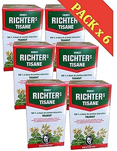 Tisane Ernst Richter Transit - Lot de 6 Boîtes de 20 Infusions avec 1 Sous-Tasse en Silicone