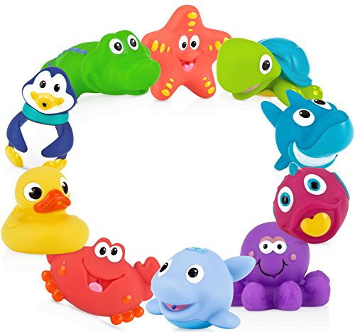 Nuby 10 Count (Pack of 1) Little Squirts Fun Bath Toys  Assorted Characters