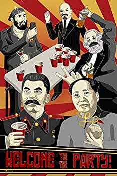 Welcome to The Party Poster Communist Wall Art Soviet Decor Leaders Chairman Mao Stalin Marx Lenin Castro Funny Cold War Propaganda Russian Stretched Canvas Art Wall Decor 16x24