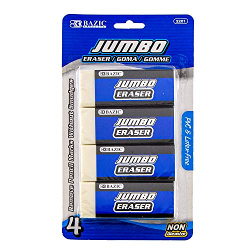 BAZIC Erasers, Jumbo Vinyl Pencil Eraser (4/Pack), Latex Free, White Large Size Block Erasers for Art Drawing School Office Kids Teachers, 1-Pack