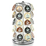 Nifty Coffee Pod Carousel – Compatible with K-Cups, 35 Pod Pack Storage, Spins 360-Degrees, Lazy Susan Platform, Modern Chrome Design, Home or Office Kitchen Counter Organizer
