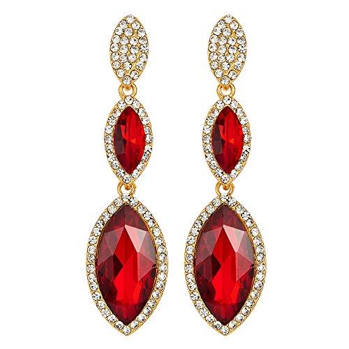 Fiesta Prom Banquetes Vestir Rojo Cristal Navette Largo Oro Statement Declaración Pendientes