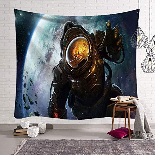 TJJY Tapiz del Universo Cool Astronaut Rectángulo Toalla de Playa Tapiz Colgante de Pared Decoración de Luna Gran Dormitorio Mural Alfombra-E