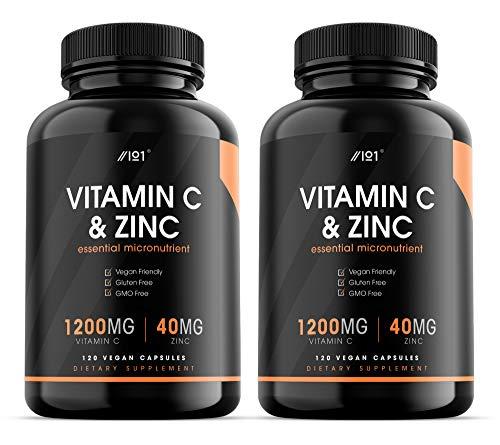 Vitamin C 1200mg & Zinc 40mg - 120 Vegan Capsules - Immune Support - Non-GMO (2 Pack)