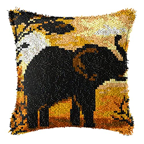 Elefante sul pascolo Latch Hook Kit, Kit Gancio di Chiusura Punto Croce Cuscino Tappeto Tappetino in Peluche Cuscino del Divano Kit da Ricamo Decorazione della casa,B