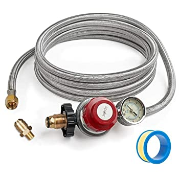 GASPRO 0-30 PSI Adjustable Propane Regulator with Gauge 12-Foot Stainless Braided Hose Perfect for Forge Burner Turkey Fryer Smoker Fire Pit
