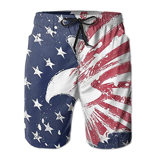 USA Flag Eagle Independent Herren Sommer Badehose Quick Dry Casual Beach Board Cargo Shorts, Größe L.