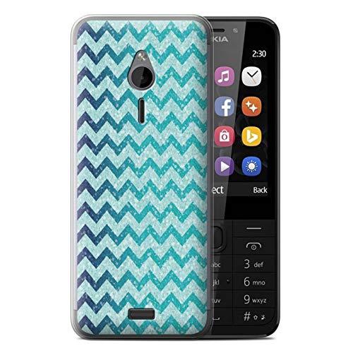 Stuff4 Handy Hülle kompatibel mit Nokia 230 Glitter Muster Effekt Aquamariner Blau Chevron Transparent Klar Ultra Sanft Flexibel Silikon Gel/TPU Hülle Cover