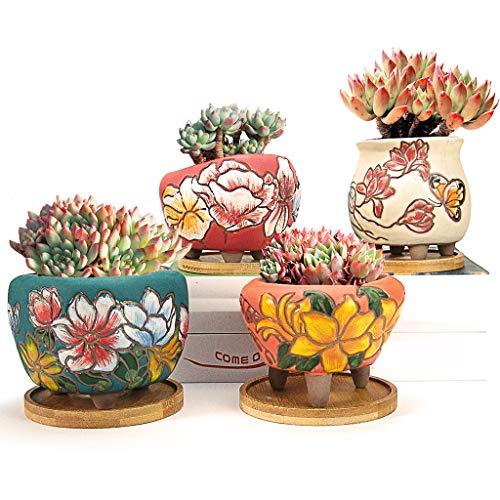 Sukkulentententöpfe, Summer Impressions, 8,9 cm, 10,2 cm, handbemalter Kaktus-Pflanzgefäß, Ton-Blumentopf mit Drainage, Bambus-Untersetzer, 4 Stück (weiß, rot, grün, orange)
