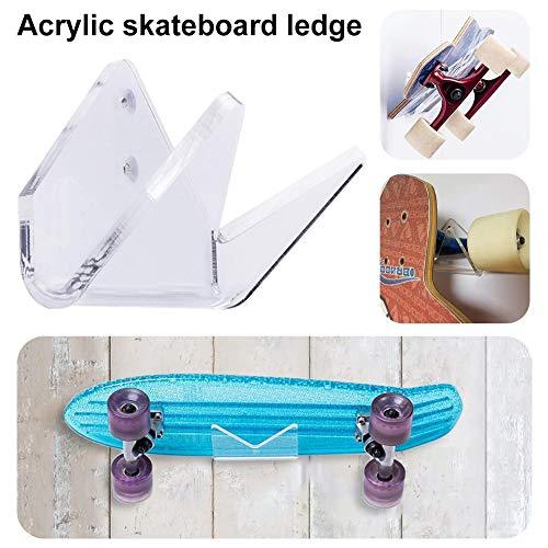 Kbsin212 Skateboard Wandhalter Wandhalter Wandhalterung Für Skateboard Longboard Penny Board, Vertikal, Horizontal, Transparent