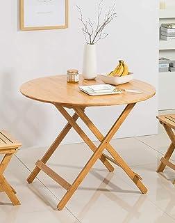 Table Salle à Manger Pliable Petit Table d'appoint Ronde Bambou Bureau d'ordinateur Portable Plateau de Snack Table de Cui...
