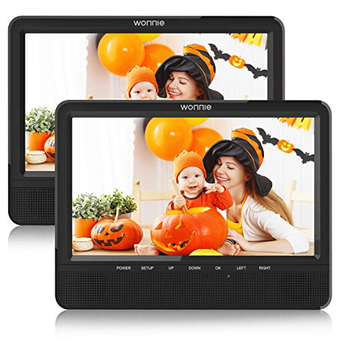 WONNIE 9.5'' Dual Screen DVD Player Portable for Car Travel Built-in 5 Hours Rechargeable Battery, Last Memory&USB&SD Slot(Two Screens Play Same Movie)