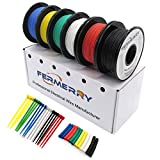 Fermerry 14AWG Silicone Wire Stranded Tinned Copper Wire 14 Gauge Electronic Automotive Hook up Wire 6 Colors 10Ft Each (10 FT 6 Colors Each, 14AWG)