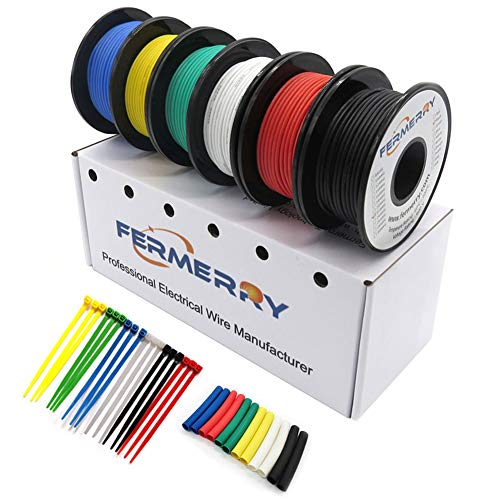 Fermerry 14 Gauge Electrical Wire Silicone Cables Hook up Wire Kit 6 Colors 5Ft Each 14 AWG Stranded Wire (5FT 6 Colors, 14AWG)
