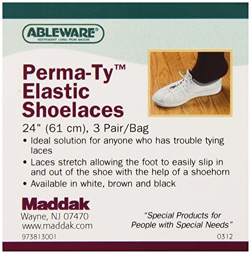 """Ableware 738130024 Perma-Ty Elastic Shoelaces, 24"""", White (Pack of 6) by Maddak Inc. (English Manual)"""