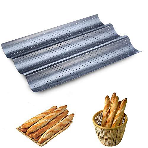 meleg otthon Baguette Brotbackformen,Perforierte Baguette-Laibpfanne Baguette-Blech für 3 Stück Baguettes 38 x 24,5 cm Baguetteform,Blech Brotbackform (Silber)