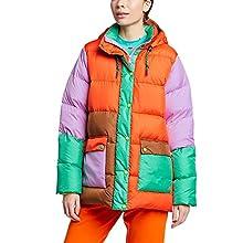 Eddie Bauer Women's x Karla Hooded Puffer Jacket, Rescue Orange Regular XL