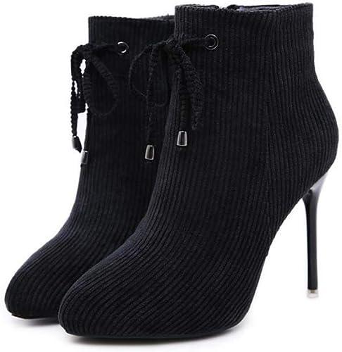 Femmes Femmes Bottines Talon Pointu Orteil Aiguille Bowknot Martin démarragey OL Décontracté Court Chaussures Robe Chaussures 34-40  vente en ligne