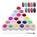 Anself 24 Colores UV Gel con 1 Pincel, Gel de Pintura, Gel UV Set Gel Colores para Uñas, Nail Art Color Gel Set, Gel de Uñas para Nail Art Diseño de Uñas