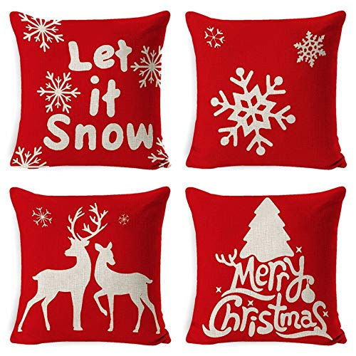 ASDQW Christmas Cushion Covers,4 Pcs Soft Square Pillow Case With Snowflake Deer Printed Red Cushion Covers For Garden Bedroom Christmas Home Decorative,80X80Cm