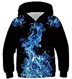 Fanient Jungen Mädchen Paar Hoodie Pullover 3D Print Bule Flammenmuster Sweatshirt Langarmshirts