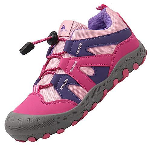 Mishansha Kinderschuhe Trekking Wanderschuhe rutschfest Hallenschuhe Mädchen Walking Schuhe Freizeit Turnschuhe Rose 33 EU