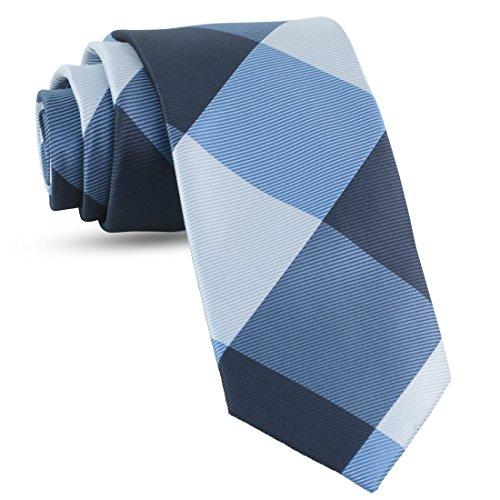 Handmade Plaid Ties For Men Skinny Woven Navy Blue Slim Gingham Mens Ties: Thin Tie & Necktie,...