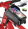 Bike Phone Bag Waterproof - Mountain Bike Accessories for Women, Men, Adults - Bike Bags Frame - Bike Phone Mount Bag - Bike iPhone 11 Mount, Bicycle Handlebar Bag, Phone Holder for Bike (8.5 Inches)
