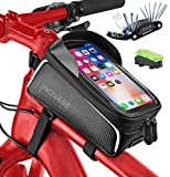 Bike Cell Phone Mount Bag Waterproof, iPhone Holder Bicycle Storage Pouch, Front Top Tube Handlebar Road Bikes bags tool kit, Accessories for Adult, Men, Women, Adults, Mens, Womens Mountain bicycles