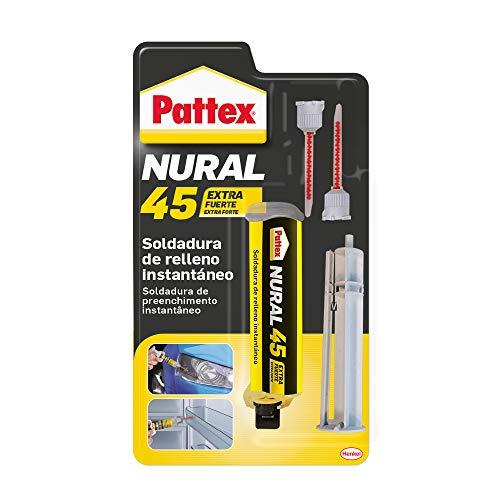 Pattex Nural 45 Adhesivo universal bicomponente con poder de relleno, Pattex soldadura de relleno instantáneo, adhesivo de montaje para unión fuerte en jeringa, 1 x 11 g