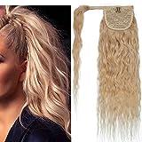 16'(40cm) SEGO Coleta Postiza Rizada Pelo Natural [#613 Blanqueador Rubio] 100% Remy Extensiones de Clip Cabello Humano Corn Wave Ponytail Hair (80g)