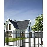 SO74 - Puerta de entrada de doble hoja para jardín con juego de cerrojos de 400 x 160 cm, juego completo que incluye 2 puertas, 2 postes de acero y herrajes, ancho total aprox. 427 cm