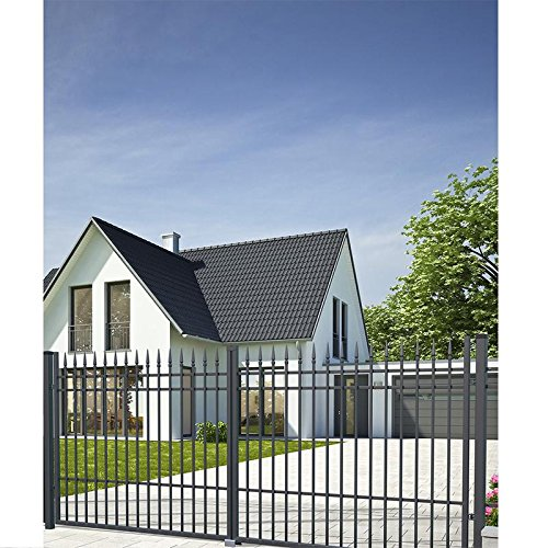 SO74 Einfahrtstor Hoftor Doppelflügeltor Gartentor Porto mit Riegelset 350 x 160 cm Komplett-Set inklusive 2 Torelementen, 2 Stahlpfosten und Beschlägen. Gesamtbreite ist ca. 377 cm