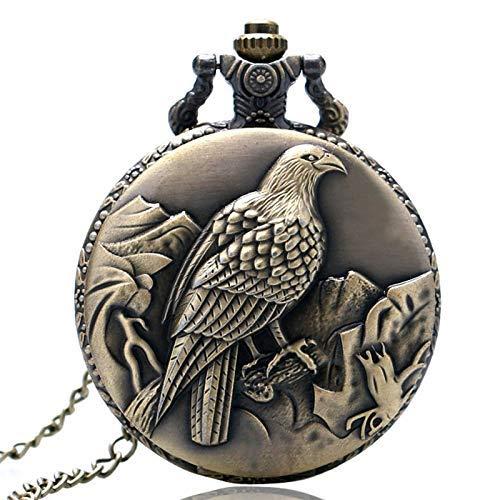 J-Love Vintage Bronce 3D Eagle Theme Qaurtz Fob Reloj de Bolsillo Colgante con Cadena de Collar
