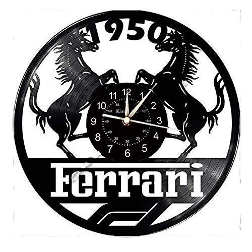 Smotly Vinyl Wanduhr, Ferrari-Themenwanduhren und Uhren, kreative Geschenke für handgemachte Wanduhren.