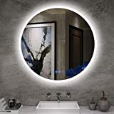 ISTRIPMF LED Bathroom Round Mirror Backlight R24' with Anti-Fog Function Wall Mounted Thickness 5MM Round Dimmable Touch Button 6000k(Cold White) Makeup Vanity Mirror Over Cosmetic Bathroom Sink