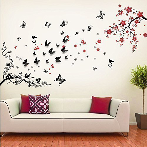Walplus Wand Sticker Blüten Blumen Wein Schwarz 3D Schmetterling Abnehmbare Selbstklebend Wandkunst Aufkleber Vinyl Wohndeko DIY Wohnzimmer Schlafzimmer Büro Dekor Tapete Kinderzimmer Geschenk, Bunt