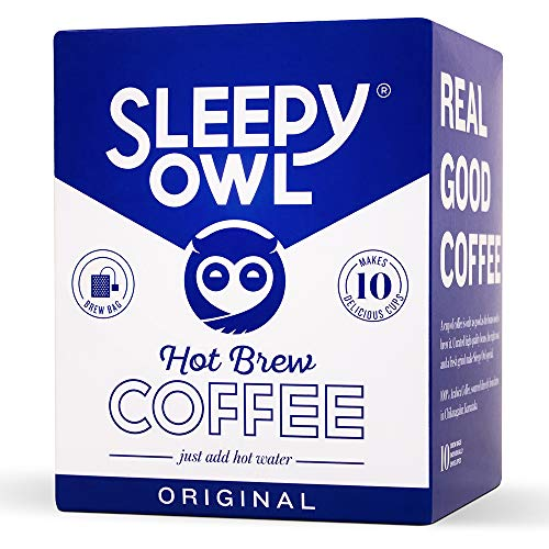 Sleepy Owl Hot Coffee Brew Bags (Original)   Set of 10 Filter bags for Hot Coffee   100% Arabica Beans   5-Minute Brew - just add hot water   No Sugar, No preservatives   Proprietary Coffee Bags   Sourced directly from Chikmagalur   Freshly shipped   Drink Black or with Milk