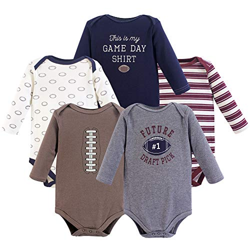 Hudson Baby baby boys Cotton Long-sleeve Bodysuits Bodysuit, Football, 6-9 Months US