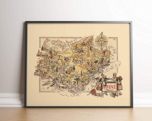 MG global Mapa de la región de la Provenza, Francia, arte de la pared de Francia, impresión de mapas vintage de Francia, impresión estirada, póster de decoración de pared sin marco