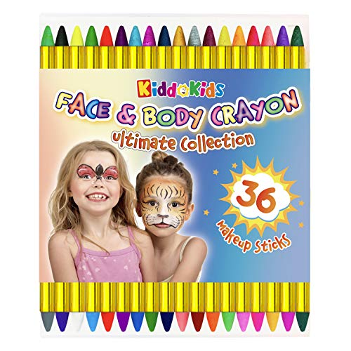 36 Colors Face Paint; Safe & Non-Toxic Face and Body Painting 3.25' Large Crayons with 12 Metallic Colors for Birthday Halloween Makeup Party Supplies