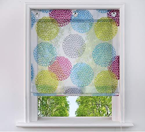 BAILEY JO Raffrollo mit Kreis-Motiven Druck Design Rollos Voile Transparent Vorhang (BxH 60x140cm, Bunt mit Ösen)