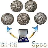1911-1915,Alemania,Monedas Conmemorativas,Colección,Antigüedades,1913,Baviera,Plateado,Fino,5 Marcos,5 Piezas,Traje Artesanía/Plata / 5pcs