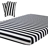 Vaulia Black and White Stripe Print Pattern, Soft Microfiber Full Size Sheets (1 Fitted Sheet 2 Pillowcases)