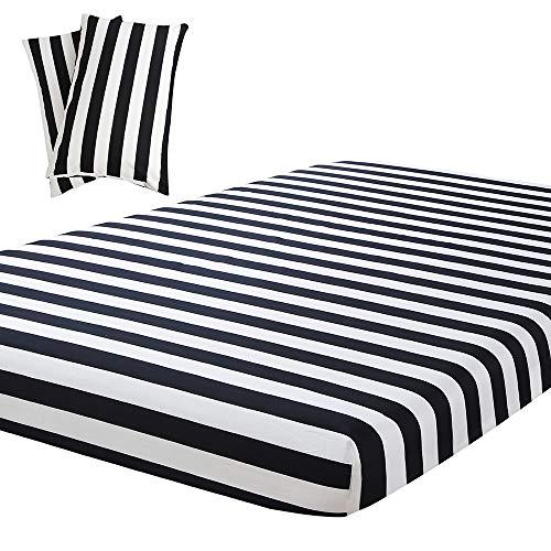 Vaulia Lightweight Microfiber Sheets, Black/White Stripe Pattern Twin Size, 3-Piece Set (1 Fitted Sheet, 2 Pillowcases)