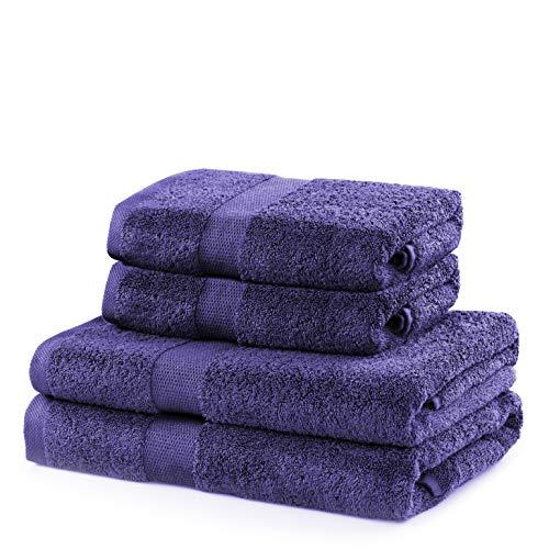 DecoKing Juego de toallas de baño de algodón de 525 g/m², 2 toallas de 50 x 100 cm y 2 toallas de baño de 70 x 140 cm, color morado, violeta